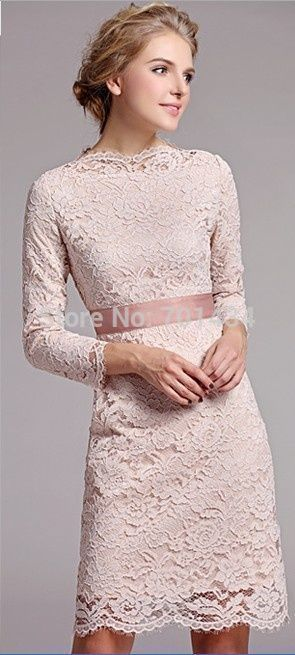 >> Click to Buy << Modest Scoop Neck Long Sleeves Lace Cocktail Dress With Belt Keen Length Custom Made Women Dresses To Party robe de cocktail #Affiliate