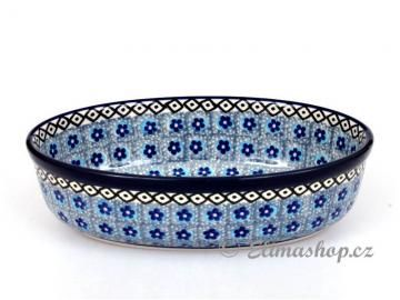 Oval baking dish 21/13 cm. This Traditional Handmade Polish Pottery favorite baker is from ELIMAshop.cz . It was handpainted in Boleslawiec ( Bunzlau ) . flower design . ceramics . stoneware . ovenproof baking dish ! ( oválek 21/13cm )