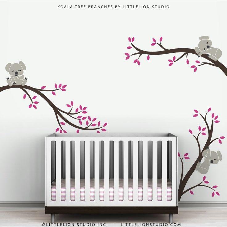 Brun rose mur autocollant mural sticker bébé Nursery décor – Koala de Branches d'arbres par LittleLion Studio