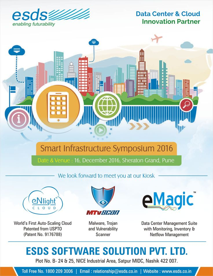We look forward to meet you at our Koisk at Smart Infrastructure Symposium, 2016 #event held on 16th December,2016 at Sheraton Grand, Pune. ESDS is a proud #Datacenter and #Cloud Innovation Partner.