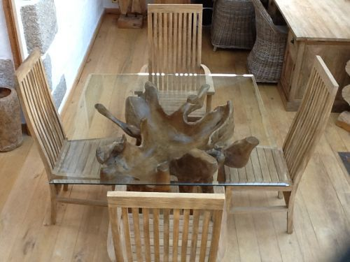 1.2m Square Teak Root Dining Table. Made From A Real Teak Tree Root.