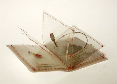 Transparent book made by sandwiching prize possessions between 2 pieces of vinyl and sewing around the edges.
