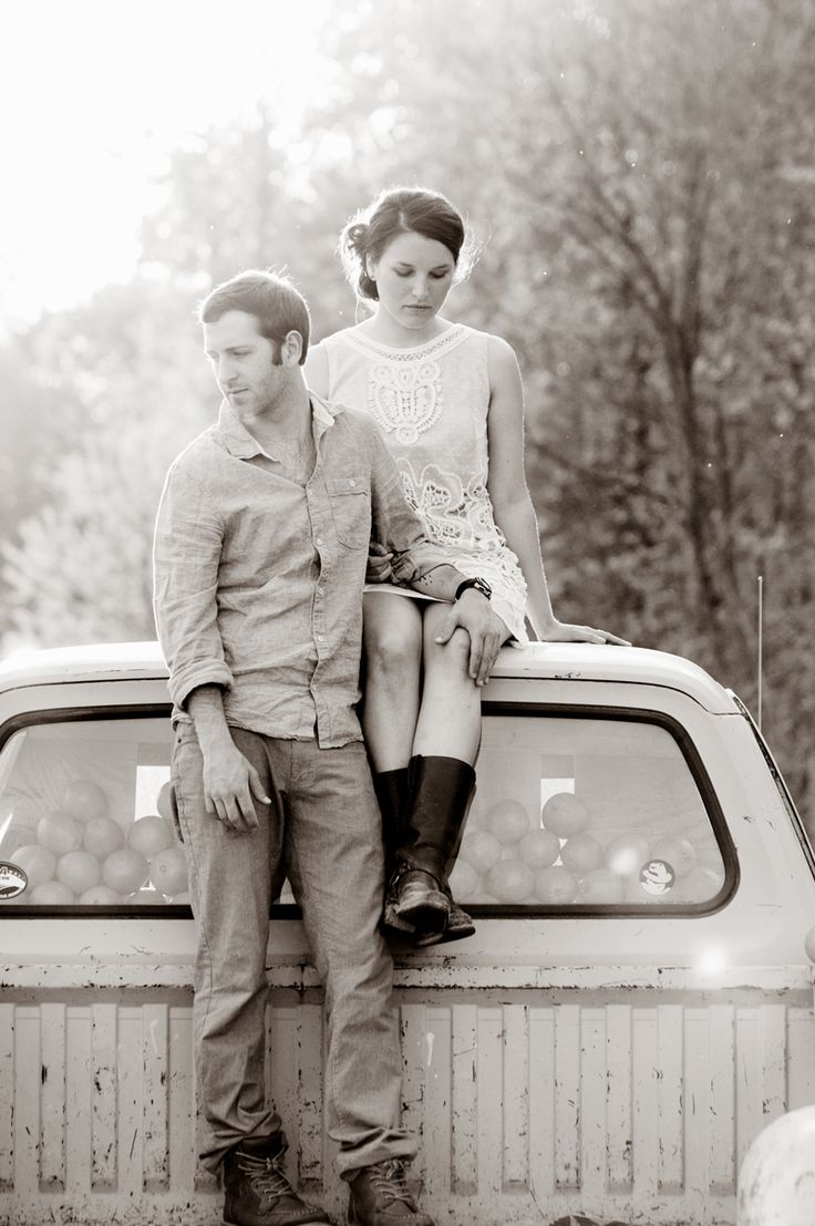vintage-inspired farm engagement shoot--> just replace this truck with my '64 chevy pickup and I'm in love!