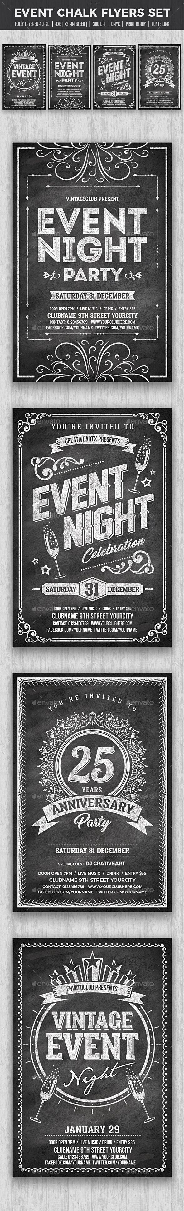 Chalk Event Flyers Set — Photoshop PSD #christmas #hipster • Download ➝ https://graphicriver.net/item/chalk-event-flyers-set/19216953?ref=pxcr