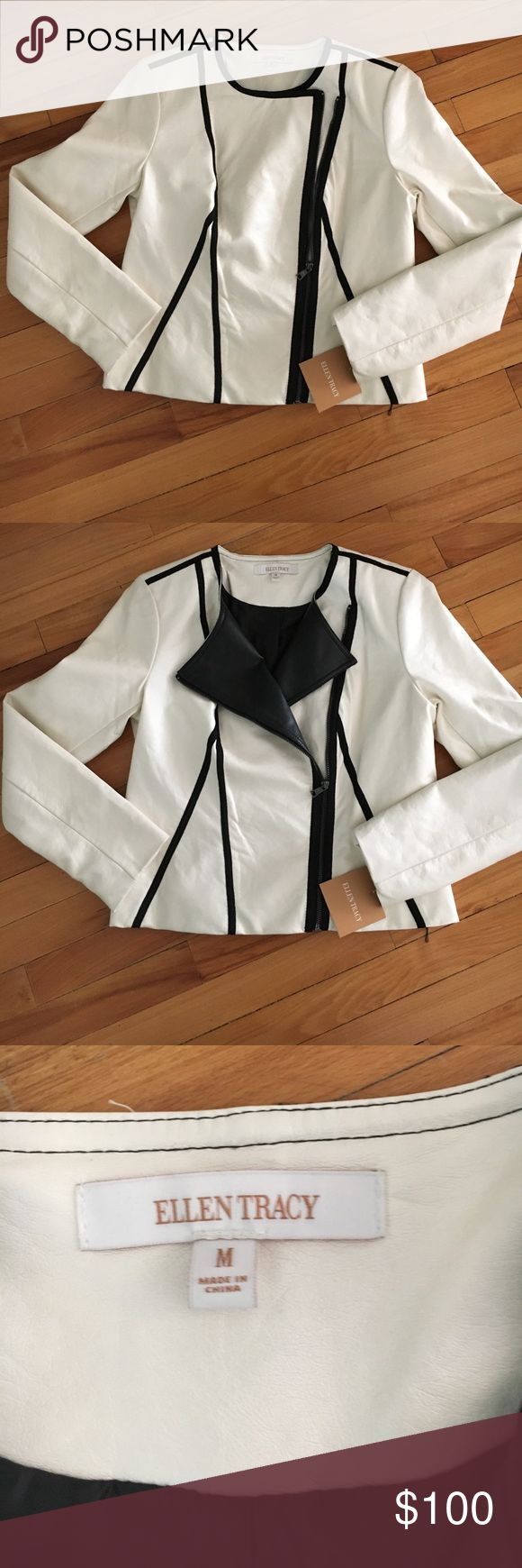 NWT Ellen Tracy Faux leather moto jacket Ellen Tracy Color Block Faux Leather Seamed Cream Jacket. Size medium. NWT Ellen Tracy Jackets & Coats