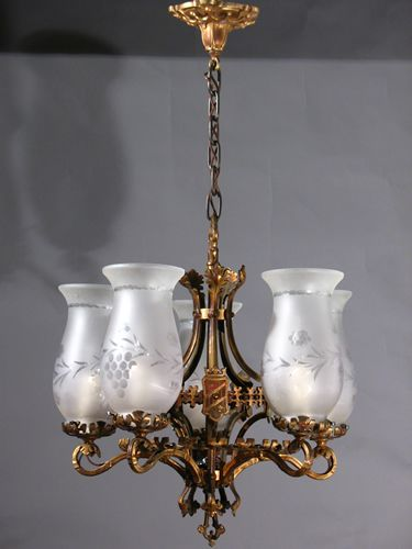 Circa 1935 Cast Bronze Gothic Chandelier From The 1930s Excellent Quality Detail With Trefoils And Foliate Arms Great Small Dining Room
