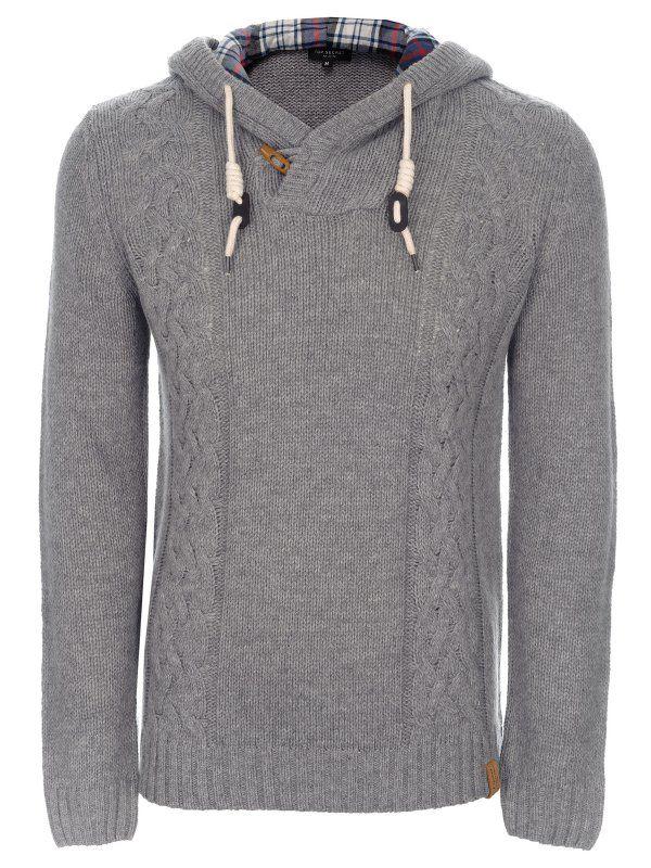Sweter męski ciemnoszary  - sweter długi rękaw - TOP SECRET. SSW1597 Świetna jakość, rewelacyjna cena, modny krój. Obejrzyj też inne swetry tej marki.