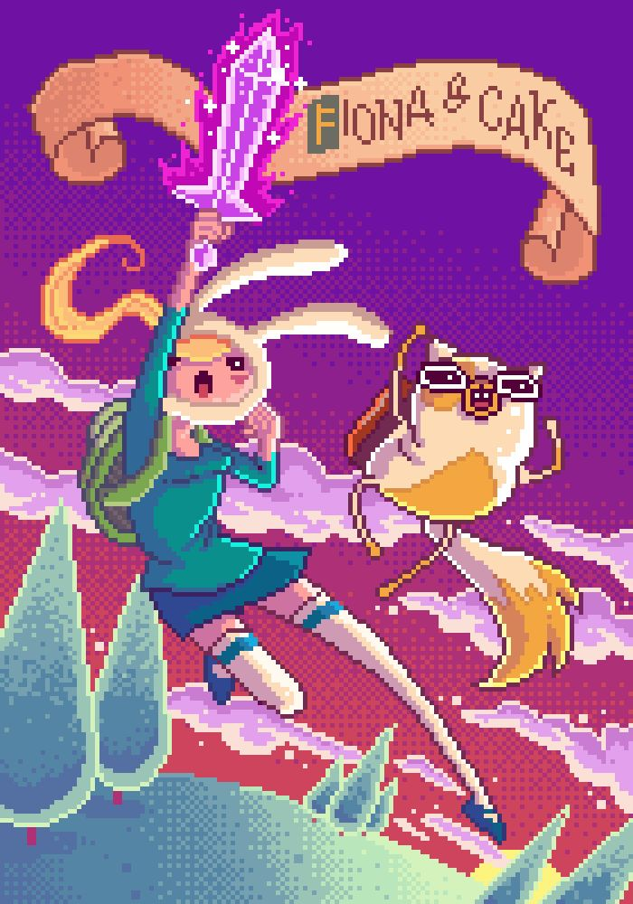 pixel fionna and cake