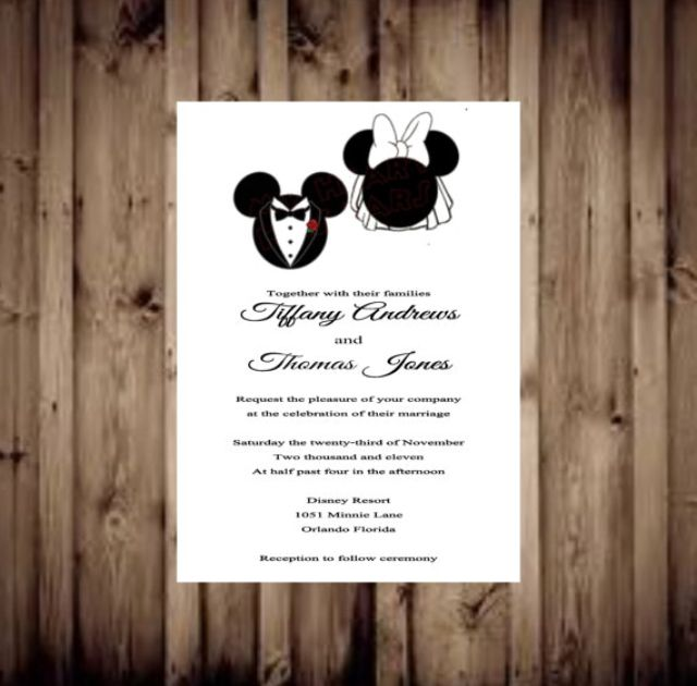 Mickey and Minnie wedding invitations 1 invite=$1.00 includes free envelope. RSVP and info cards available Glamourcards.etsy.com
