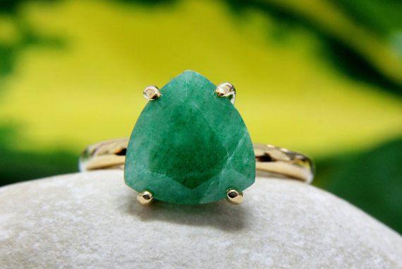 Green dyed emerald gemstone vermeil ring. Labradorite silver ring. Tiger eye ring. High quality emerald gemstone ring. May birthstone ring. by Jadorelli on Etsy