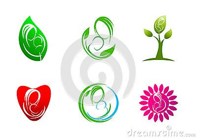 Logo of care, treatment plants leaf symbol, icon design concept naturally mother loves a child.