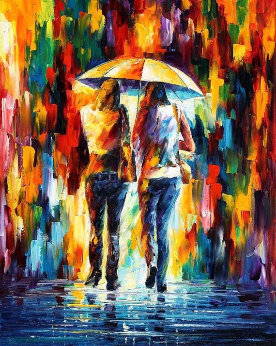 Friends Under The Rain PALETTE KNIFE Oil by AfremovArtStudio