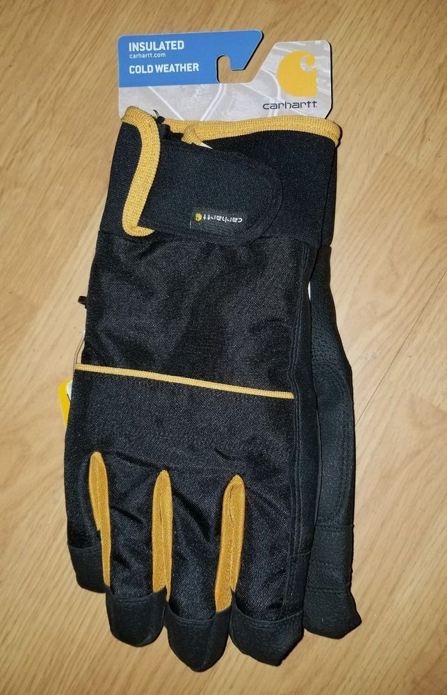 Carhartt Mens W.P Waterproof Insulated Work Glove Brown Black Large Brand New