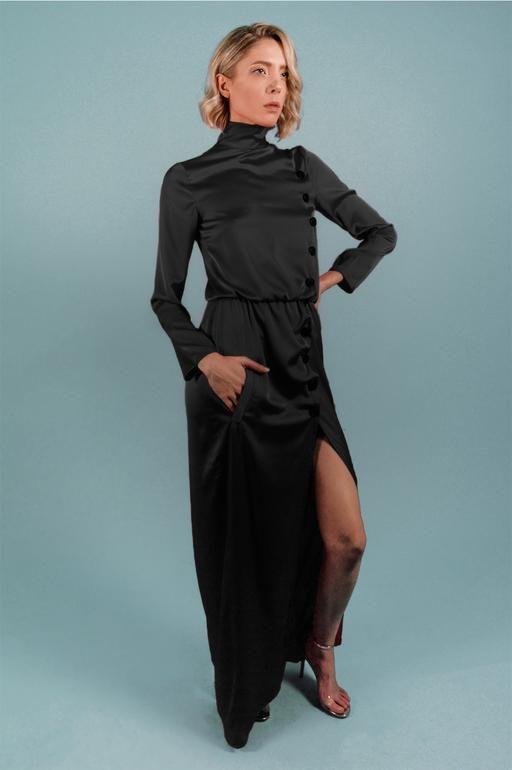 2852bae00c9 Black turtleneck maxi silk satin dress - Bastet Noir The black turtleneck  maxi dress has long