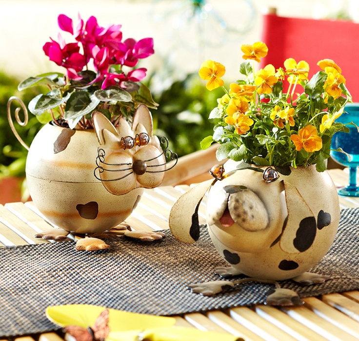 Let one of our fun animal planters guard your favorite houseplants