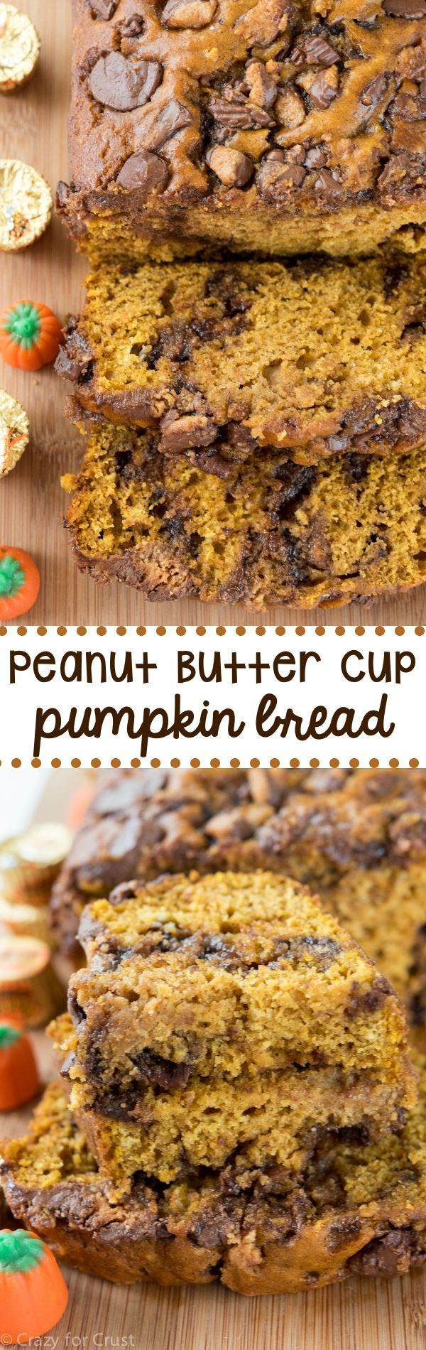 Peanut Butter Cup Pumpkin Bread - an easy pumpkin bread filled with peanut butter cups. We couldn't stop eating this bread!