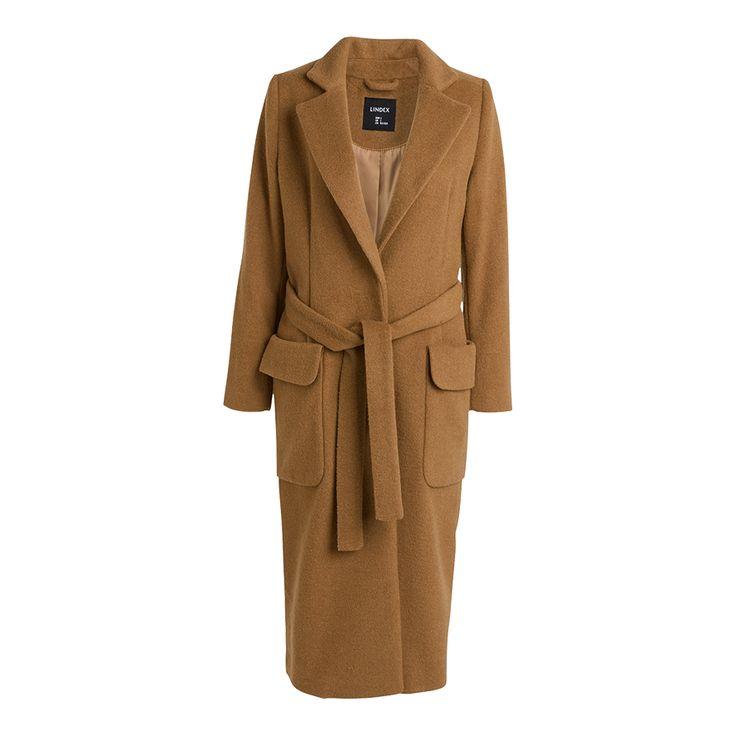 Kabát ze směsi vlny, Hnědá , Novinky, Ženy | Lindex