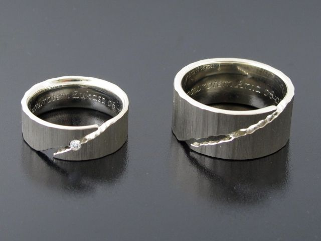 #Rings by #Bielak certified white gold  lightely raised  profile: reverse D  white diamond 2 mm #wedding #band #unique