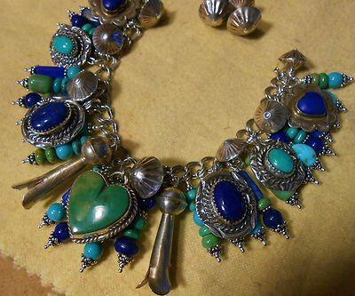 Castle Dome Turquoise Sterling Dan Dodson Heart Native American Charm Bracelet | eBay