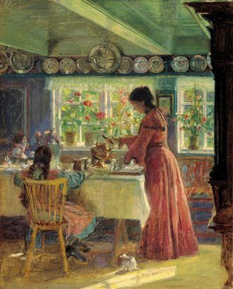 Laurtis Tuxen: Pouring the morning coffee. (1906)   Skagens Kunstmuseer    Art Museums of Skagen