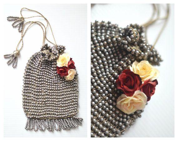 Art Deco Wooden Beaded purse Art Deco pouch by BlackRainCouture