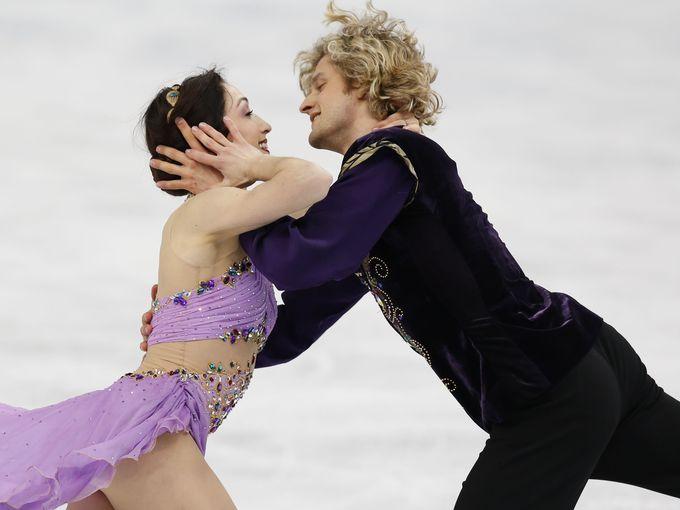Charlie White and Meryl Davis (USA) perform during the ice dance free dance program. Davis and White won gold.