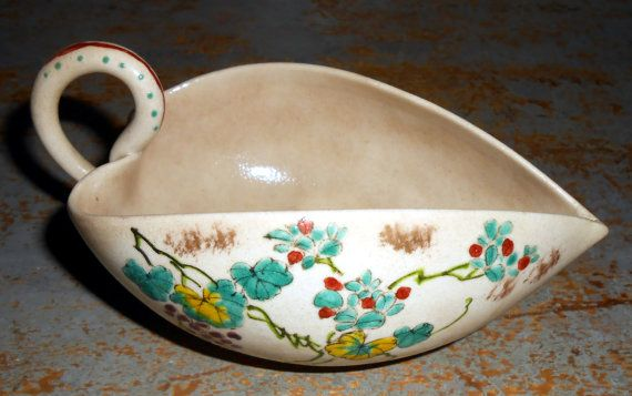 Vintage Dish Creamer Candy Dish Gravy Boat Asian by TheBackShak