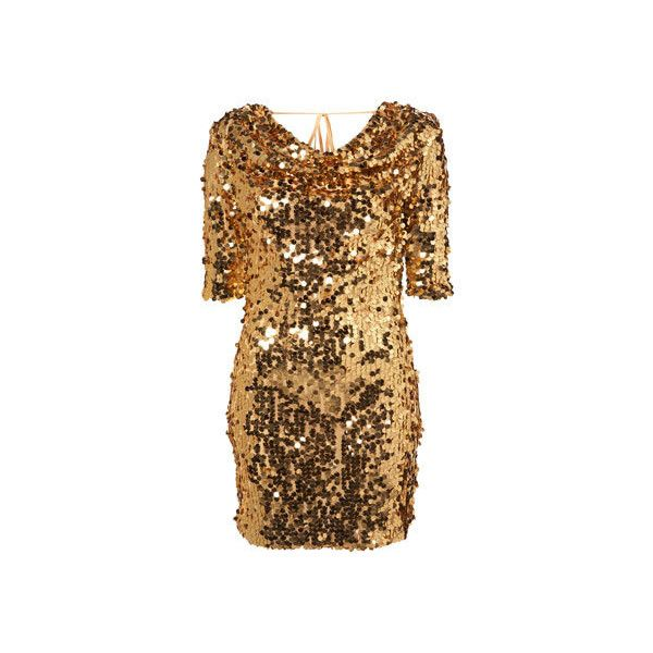 Gold Sequin Cowl Back Dress Cowl Neck Party Dresses ❤ liked on Polyvore