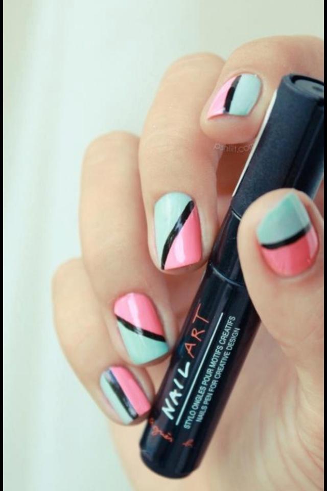 Uñas rosa y azul #nails #uñas #sweetnails