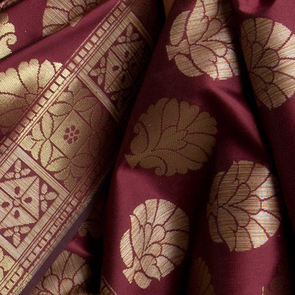 #Fashion #Maroon and #Gold #Saree #Handmade #India #Textiles #Fabrics