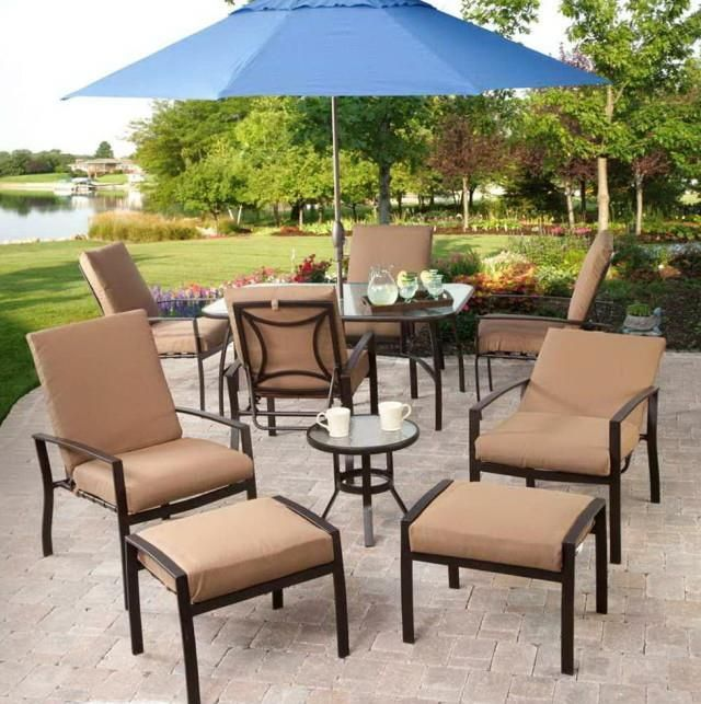 Outdoor Brown Conventional Stained Steel Conversation Set With Blue Patio  Umbrella Also Cup And Cheap Patio
