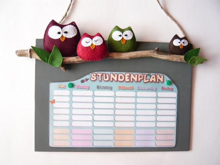 """Einschulung, Stundenplan """"Eulenschule"""" // timetable with embroidet owls by Die Stick-AG via DaWanda.com"""