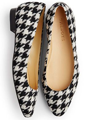 A classic flat gets a modern update in a bold, black-and-ivory houndstooth print.