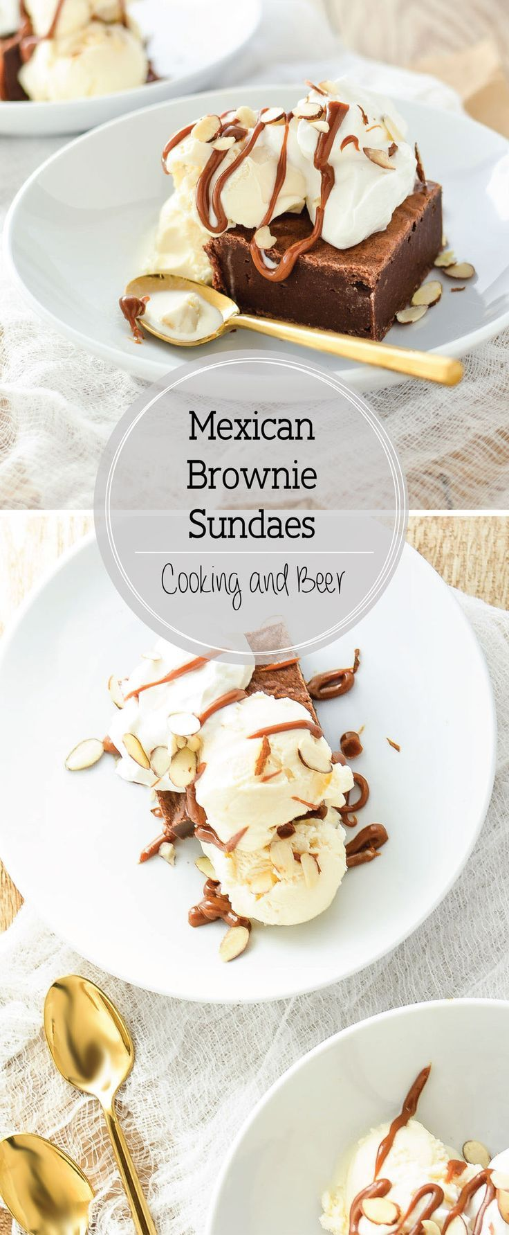 Mexican Chocolate Brownie Sundaes: a sweet chocolatey brownie treat topped with vanilla ice cream and dulce de leche!
