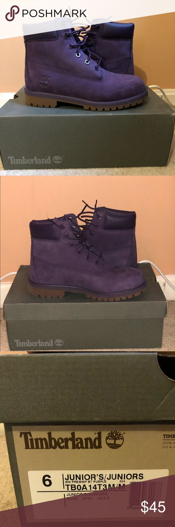 Purple Timberland Boots Timberland Boots Purple ONLY WORN ONCE WATERPROOF 🚫💦  Women who wear a regular size 8 can fit this show as well. It's a kids/juniors 6. Timberland Shoes Winter & Rain Boots