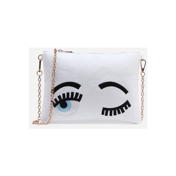 SheIn(sheinside) White Wink Eye Embroidered Clutch With Chain ($16) ❤ liked on Polyvore featuring bags, handbags, clutches, white, white handbags, embroidered purse, embroidered handbags, white purse and embroidery purse