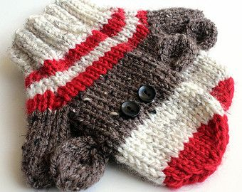 sock monkey mittens - Etsy