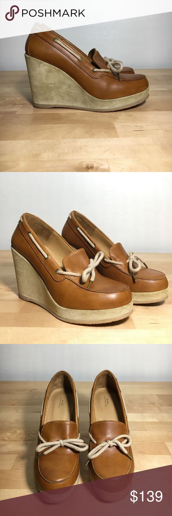 Platform Wedge Loafer Pretty wedge loafers from the Parisian brand A.P.C. Camel brown leather and beige suede wedge. Fully lined in leather. Made in Portugal. Excellent condition. A.P.C. Shoes Wedges