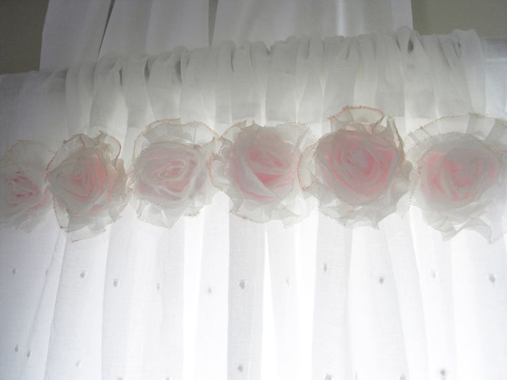 Shabby Chic Curtains | Shabby Chic Pink Flower Curtains...Baby Nursery Curtains...Girls Room ...
