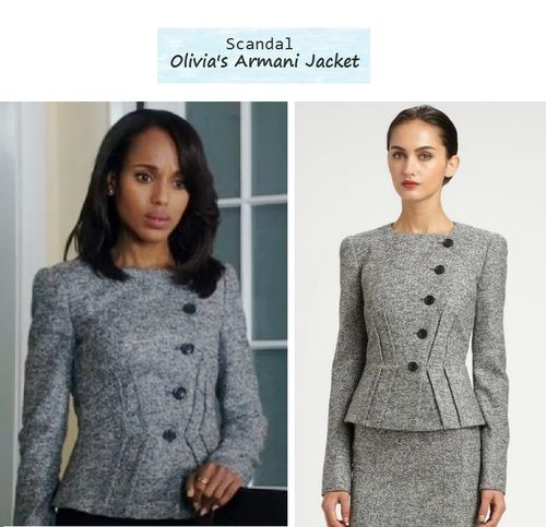 "Kerry Washington as Olivia Pope in Scandal - ""Top of The Hour""  (Ep. 216). Looks like her jacket went on sale for over 50% off  sold out here at Saks! Olivias Jacket: Armani Collezioni Micro Boucle Jacket $1255 $502 sold out 