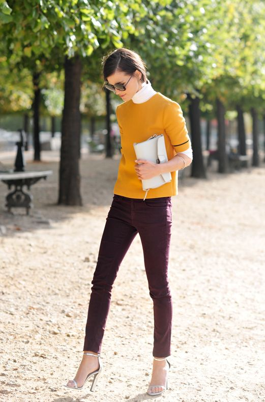 mustard sweater + peter pan colar: Mustard Sweaters, Colors Combos, Skinny Jeans, Fashion Style, Fall Colors, Street Style, Colors Combinations, Skinny Pants, Mustard Yellow