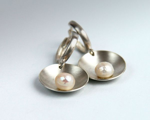 Earrings: Sterling silver, round pearls, hand fabricated.