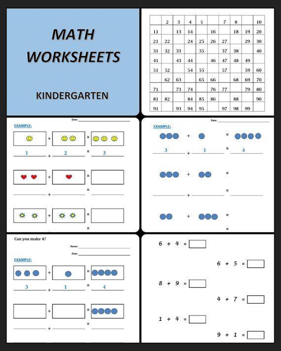 Math Worksheets For Kindergarten 41 Printable Worksheets Additions Kindergarten Preschoo Math Workbook Kindergarten Math Kindergarten Math Worksheets Free