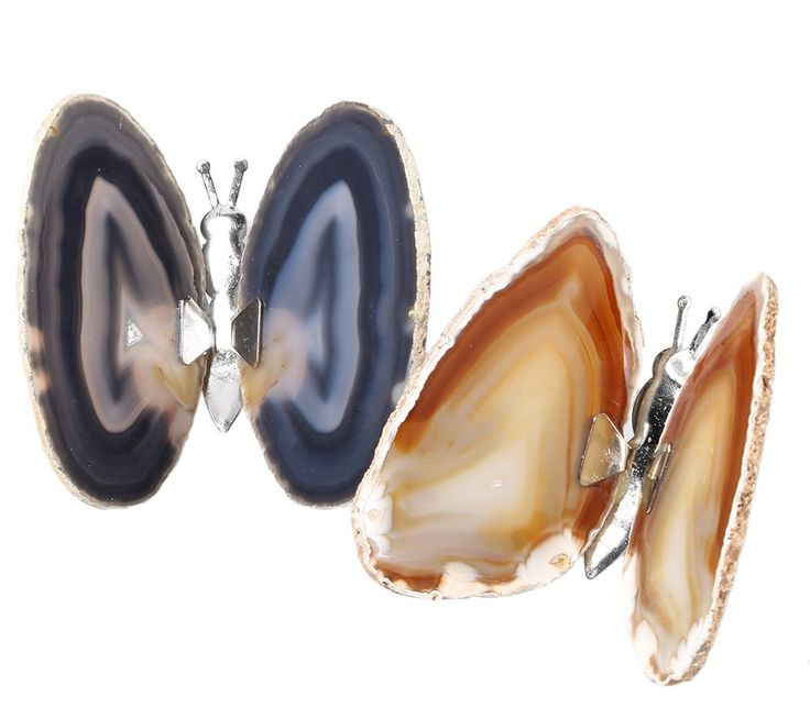 KLAUS DREXEL butterflies agate slices 2 pieces - QVC.de