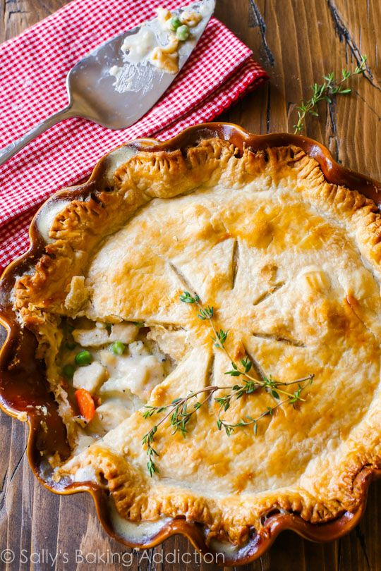 Double crust chicken pot pie makes the BEST comfort food dinner for the whole family! Recipe found on sallysbakingaddiction.com