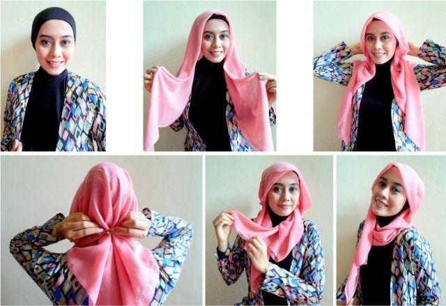 Cara memakai jilbab segiempat terbaru simpel modis 2014