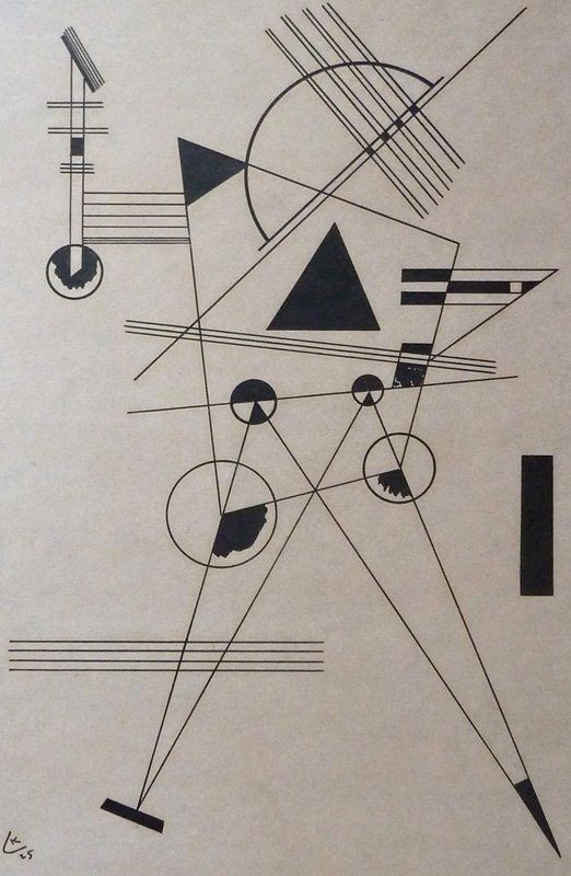 Illustrative of the power of suggestion by Wassily Kandinsky. In these few lines and circles,I see a walking person.