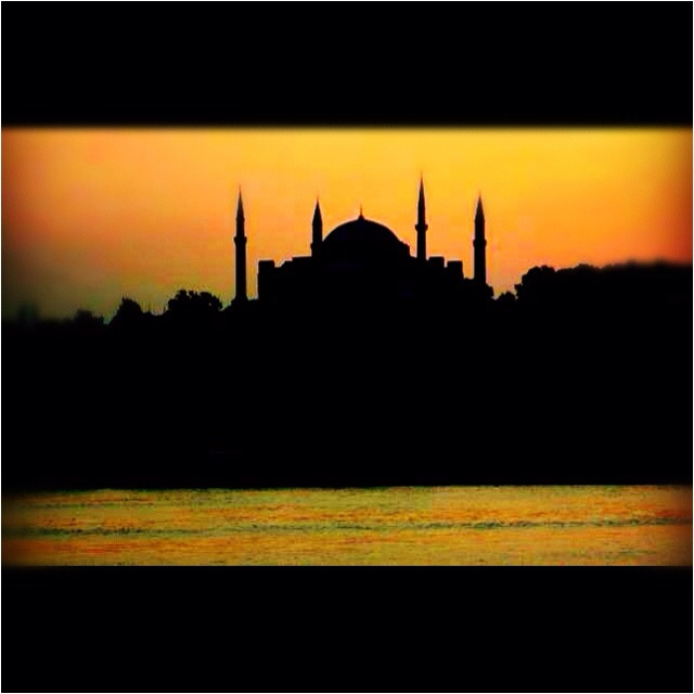 Ayia Sofia. Constantinople, Turkey.  Sunset from the cruise ship