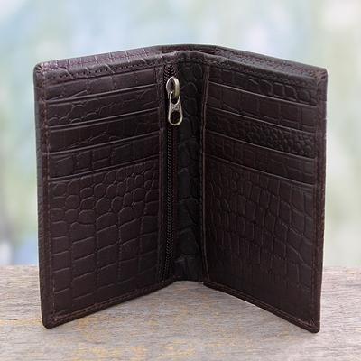 Men's slim leather wallet, 'Efficient in Brown Crocodile' - Men's Embossed Handcrafted Brown Slim Leather Wallet (image 2b)