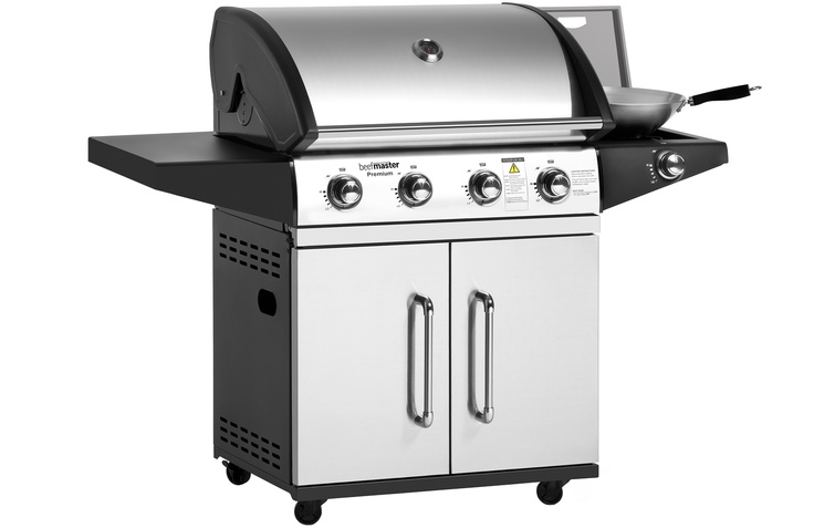 Barbeques Galore - Products - Premium Beefmaster 4 Burner BBQ on Cart with Side Burner $799